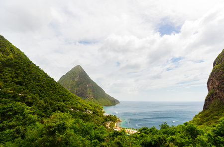 Iconic view of Piton mountains on St Lucia island in Caribbean