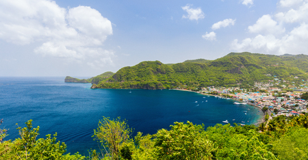 Panoramic view of Jade mountain near small town of Soufriere on St Lucia island in Caribbean