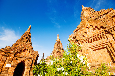 Stunning view of historic buddhist pagodas in Bagan Archeological area in Myanmar 스톡 콘텐츠