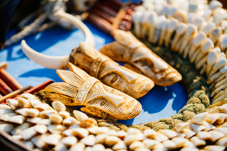 Souvenirs at market on Inle lake in Myanmar Stock Photo