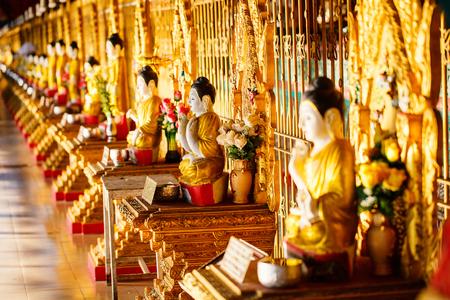 Buddha statues in Yangon pagoda in Myanmar
