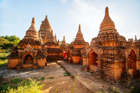 Stunning landscape view with thousands of historic buddhist pagodas and stupas in Bagan Myanmar