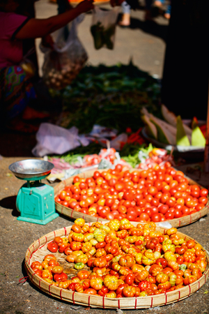 Close up of fresh organic tomatos at street market in Yangon Myanmar Stock Photo