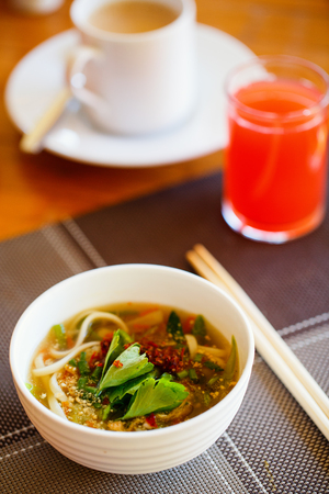 Delicious Asian noodle soup served for breakfast or lunch