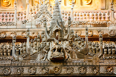 Wooden carvings of historic Shwenandaw Buddhist monastery located in Mandalay Myanmar