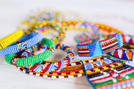 Colorful traditional jewelry of Masai tribe 版權商用圖片