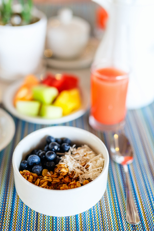 Healthy breakfast bowl of homemade granola from several types of cereals, fresh blueberries and coconut flakes Stock Photo