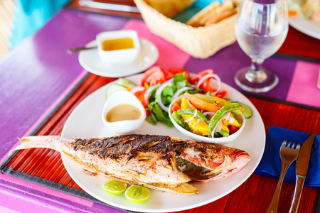Close up of delicious grilled fish served for lunch with fresh vegetables salad