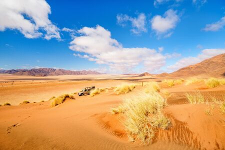 Beautiful landscape of Namib desert with orange sand dunes and Tiras mountains on background