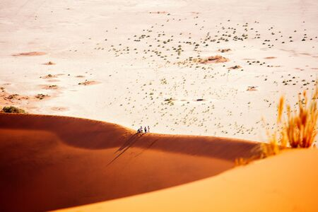 High view of red sand dunes and white clay pan of Deadvlei Namibia