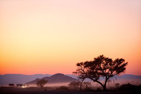 Beautiful landscape of Sesriem in Namibia just before sunrise