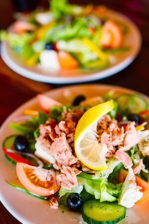 Delicious fresh tuna salad served for lunch 写真素材