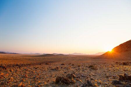 Beautiful landscape of Namib desert at sunrise or sunset