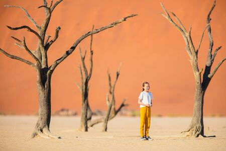 Adorable girl among dead camelthorn trees surrounded by red dunes in Deadvlei in Namibia 写真素材