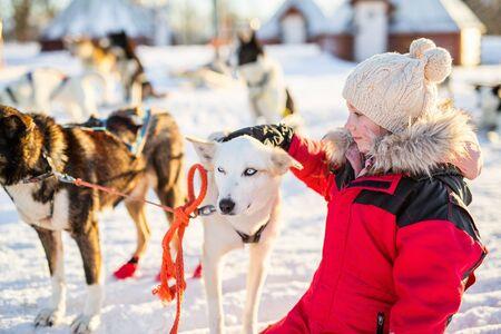 Entzückendes Mädchen, das eine Umarmung mit heiserem Schlittenhund in einem Bauernhof in Nordnorwegen hat