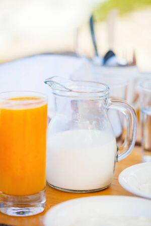 Fresh milk and orange juice  served for breakfast