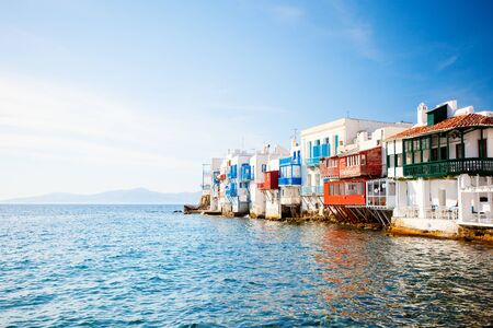 Little Venice popular tourist area at village on Mykonos island, Greece, Europe Stockfoto