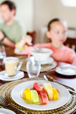 Delicious organic fruits served for breakfast