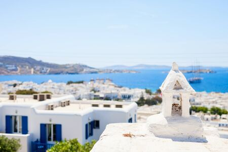 Traditional greek village with white houses on Mykonos Island, Greece, Europe