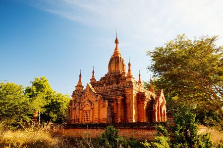 Stunning view of historic buddhist pagoda in Bagan Archeological area in Myanmar