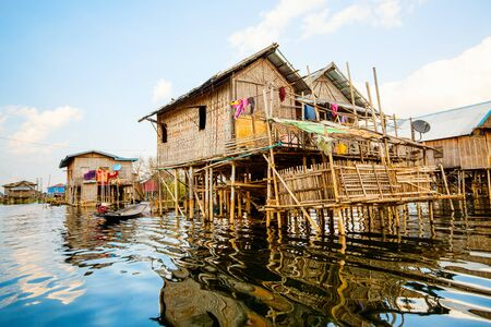 Traditional floating village on Inle lake in Myanmar