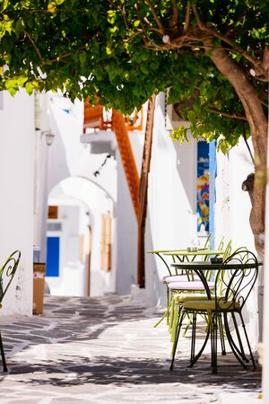 Typical greek traditional village with white walls and colorful doors and windows on Mykonos Island, Greece, Europe Stockfoto