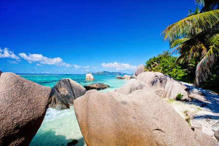 Picturesque Anse Source d'Argent beach on tropical La Digue island in Seychelles Stok Fotoğraf