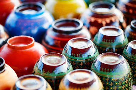 Colorful clay pots at asian market in Myanmar Zdjęcie Seryjne
