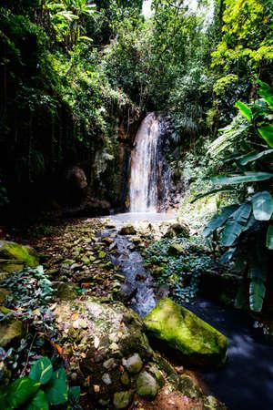 Beautiful landscape of Diamond waterfall on Saint Lucia island in Caribbean Zdjęcie Seryjne