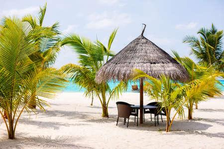 Beautiful tropical beach on exotic island in Maldives