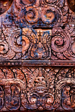 Beautiful Banteay Srei temple carvings in Angkor Archaeological area in Cambodia