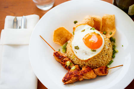 Close up of delicious fried rice dish served for lunch Zdjęcie Seryjne