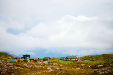 Beautiful scenery of Faroe islands landscape with old farm houses