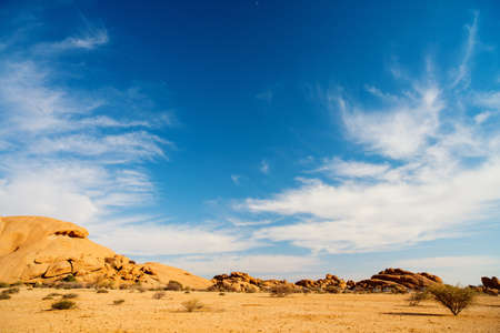 Beautiful landscape of Spitzkoppe area with unique rock formations in Damaraland Namibia