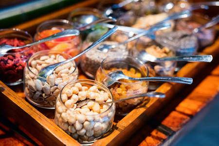 Nut assortment tray in buffet breakfast restaurant