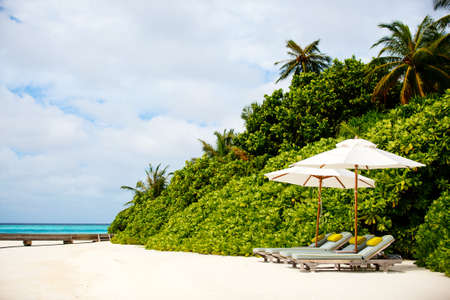 Beautiful tropical beach on exotic island at Maldives