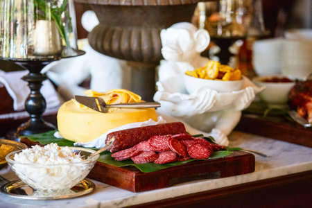 Selection of delicious organic food served for breakfast Zdjęcie Seryjne - 155235421