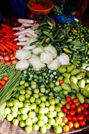 Fresh organic vegetables in outdoor market