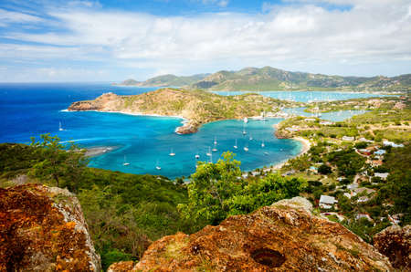 Stunning view of English Harbor in Antigua from Shirley Heights