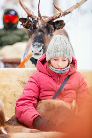 Adorable girl on reindeer safari in winter forest in Lapland Finland