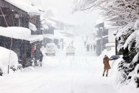 historic Japanese village Shirakawago in winter