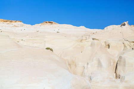 Lunar like landscape of Sarakiniko volcanic rock formations on island of Milos in Greece Zdjęcie Seryjne