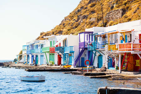 Colorful fishing village of Klima with white houses and colorful doors on Milos Island in Greece Zdjęcie Seryjne