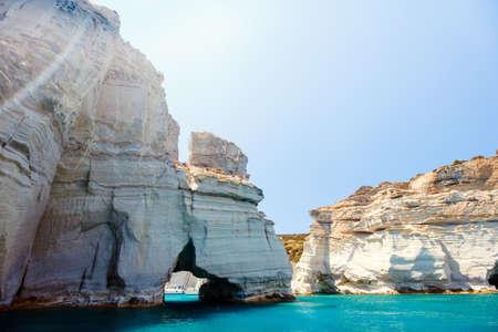 Rock formations and sea caves at Kleftiko shoreline in Milos Greece Zdjęcie Seryjne