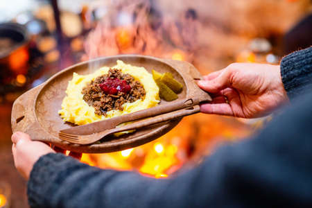 Traditional finnish food sauteed reindeer with mashed potatoes and lingonberries served in lappish hut next to open fire