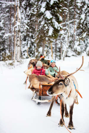 Family mother and kids on reindeer safari in winter forest in Lapland Finland