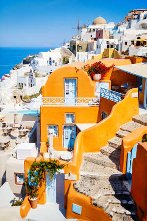 Breathtaking view of Oia village with beautiful houses on Santorini island in Greece