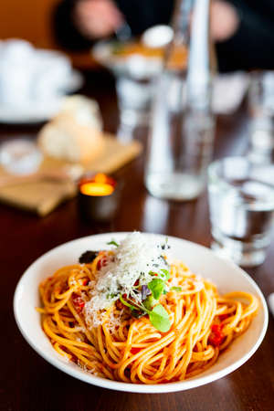 Delicious spaghetti bolognese served for lunch or dinner in restaurant