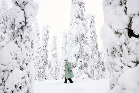 Young woman walking in winter forest among snow covered trees in Lapland Finland