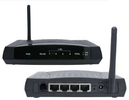 adsl: Black aDSL modem with four-port switchboard